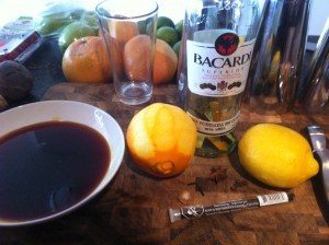 The ingredients for a warm, spicy and delicious home made spiced rum.